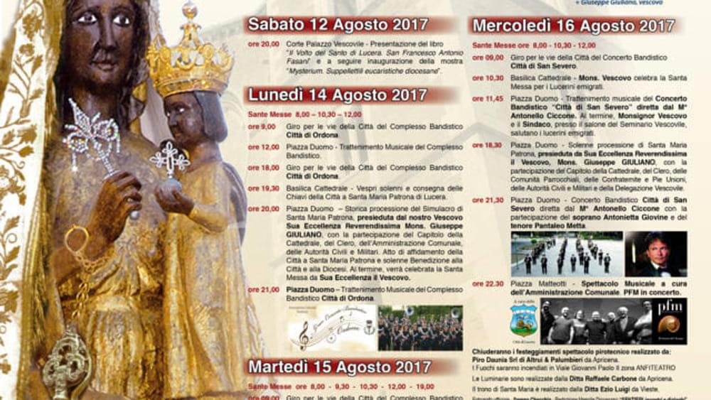 Calendario Feste Patronali Puglia.Festa Patronale Di Lucera Il Programma